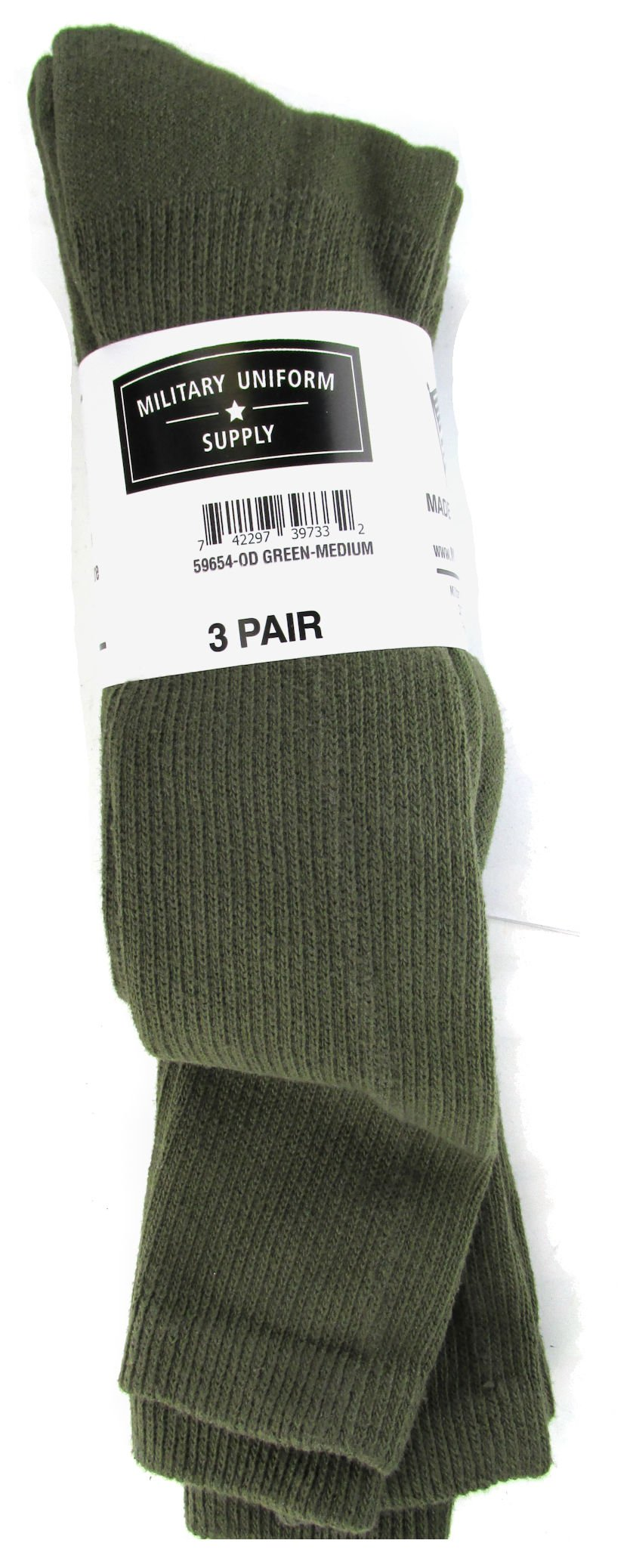 Military Style Men's Anti-Microbial Boot Socks - OLIVE DRAB - 3 PAIR SMALL