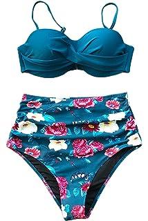 b5765a4fd3c Amazon.com: Firpearl Women's Retro 50's Ruffle High Waisted Bikini ...