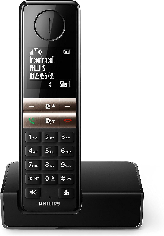Philips D4601B/01 - Teléfono (Teléfono DECT, Terminal inalámbrico, Altavoz, 50 entradas, Negro): Amazon.es: Electrónica