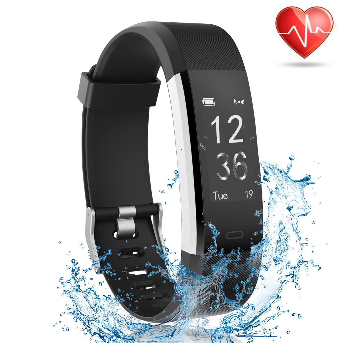 Fitness Tracker with Heart Rate Monitor, Lattie Smart Watch Activity Tracker Pedometer Sports Bracelet with Sleep Monitor Step Calorie Counter Wristband for Android and iOS Smartphone (Black) by Lattie