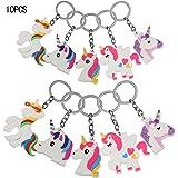 Portachiavi Unicorn,KAKOO 10 pezzi Unicorn Design Keychains per i regali dei bambini Premio