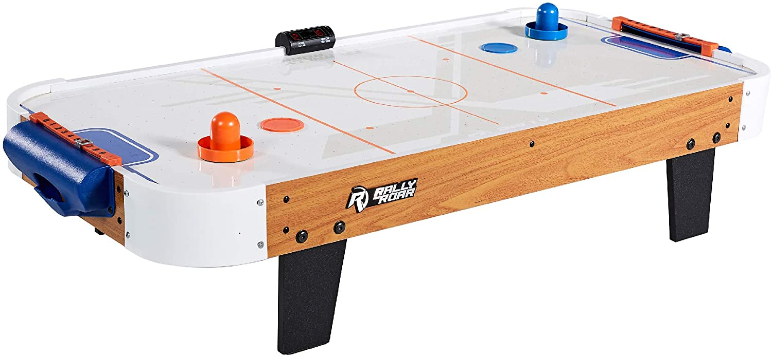 Rally and Roar Tabletop Air Hockey Table, Travel-Size, Lightweight, Plug-in - Mini Air-Powered Hockey Set with 2 Pucks, 2 Pushers, LED Score Tracker - Fun Arcade Games and Accessories : Sports & Outdoors