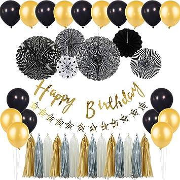 Amazon.com: KREATWOW - Globos de oro negro para cumpleaños ...