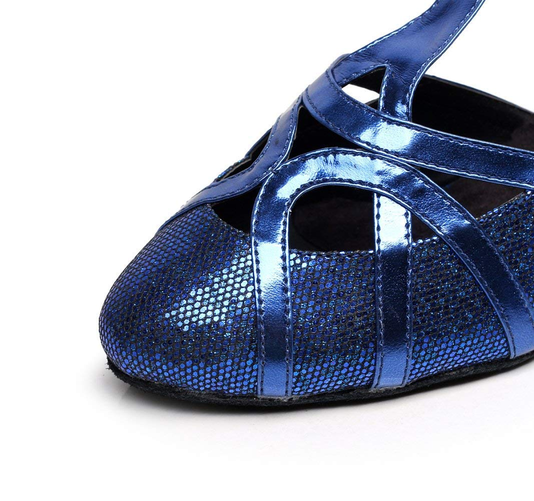 damen Closed Toe High Heel PU Tango Leder Glitter Salsa Tango PU Ballsaal Latin T-Strap Tanzschuhe SchwarzHeeled6cm-UK3   EU33   Our34 (Farbe   Blauheeled8cm Größe   UK3 EU33 Our34) 55c35f