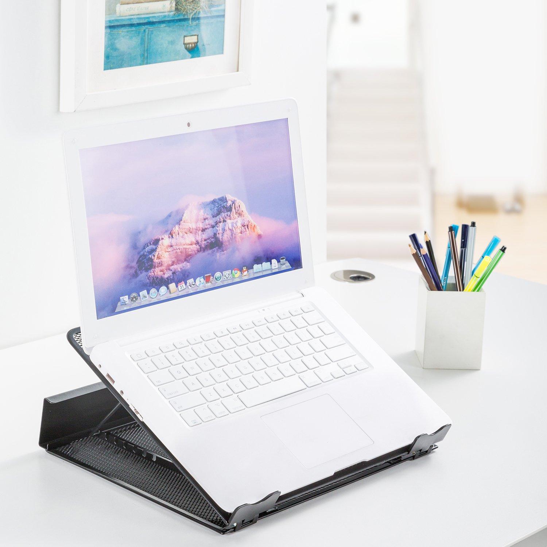 DESIGNA Mesh Metal Ventilated Adjustable Laptop Stand for Desk Notebook Tablet Black by DESIGNA (Image #5)
