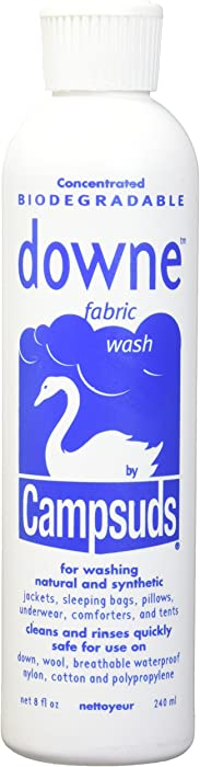 Sierra Dawn Campsuds Downe Fabric Wash Cleaner, Natural Liquid Laundry Detergent, Hypoallergenic Cleaning Solution for Wool, Silk, Delicates, Synthetics and Blends (8-Ounce)