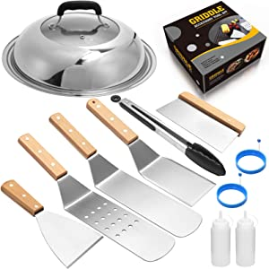 Griddle Assecories Compatible with Blackstone and Camp Chef, Flat Top Griddle Scraper Tool with Melting Dome for Outdoor Cooking,Teppanyaki, Hibachi, BBQ (Wooden Handle)