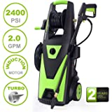 PowRyte Elite 2400 PSI 2.0 GPM Electric Pressure Washer, Power Washer with Brushless Induction Motor, Hose Reel, Extra Turbo Nozzle and 5 PC Quick-Connect Spray Tips