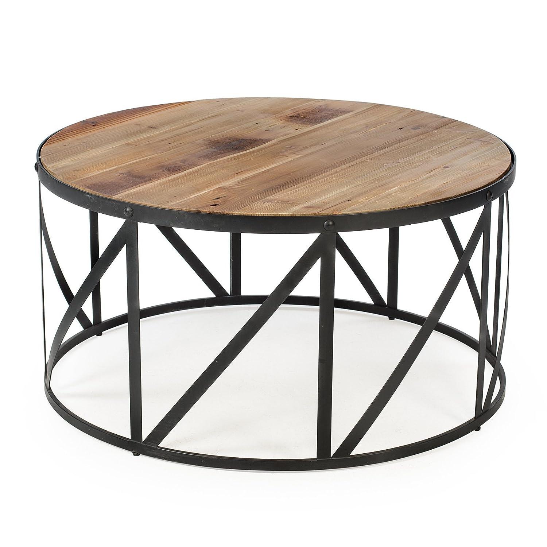 Amazon.com: Belham Living Allen Reclaimed Wood Drum Coffee Table: Kitchen U0026  Dining