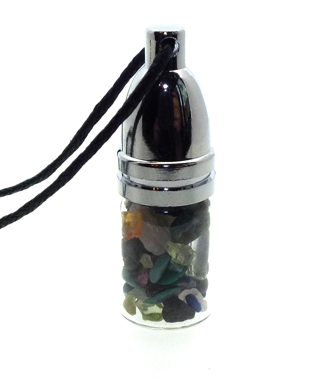 Angelic Reiki Gemstone Glass Mojo Bottle Pendant
