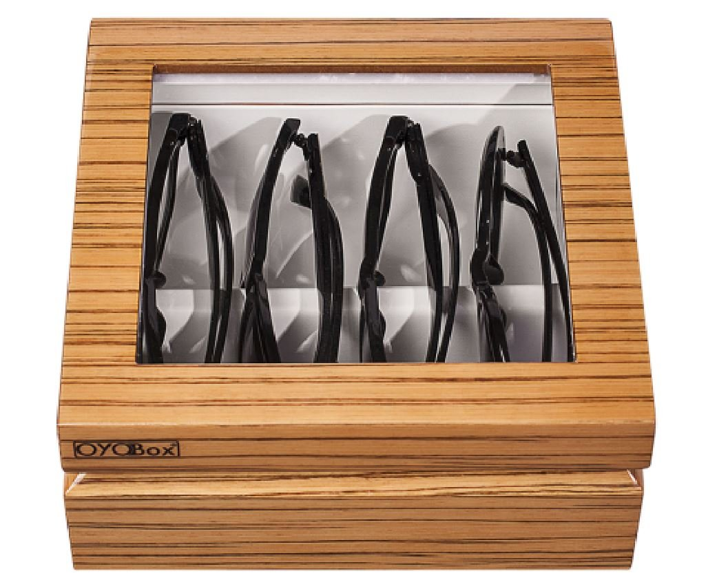 OYOBox Luxury Eyeglass Eyewear Unisex Mini Zebra Natural Wood Color Lacquer Finish Organizer Box by OYOBox