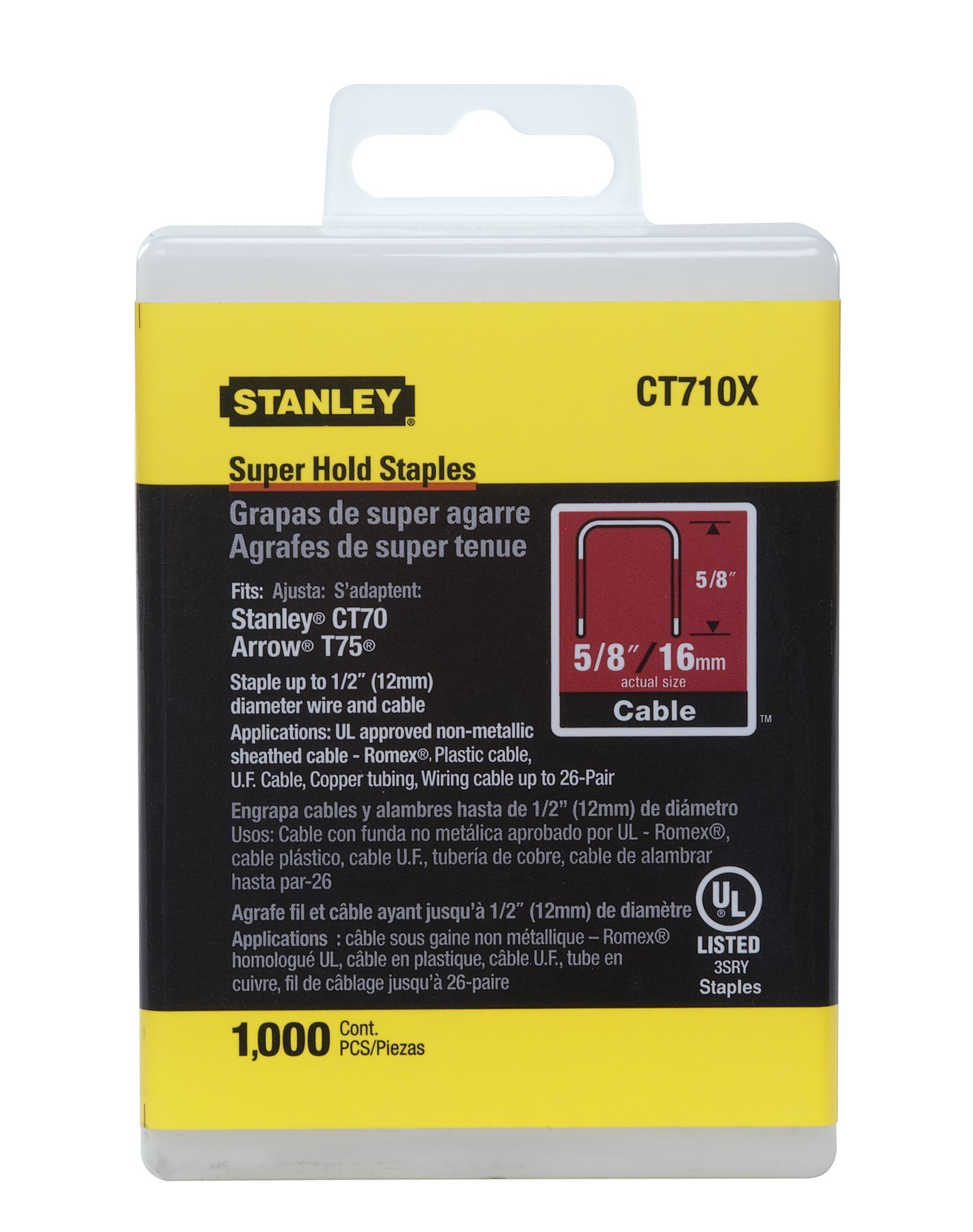 Stanley CT710X Wide Crown Super Hold Electrician's Staples 5/8-Inch Lenth, 1/2-Inch Crown, 1000-Pack