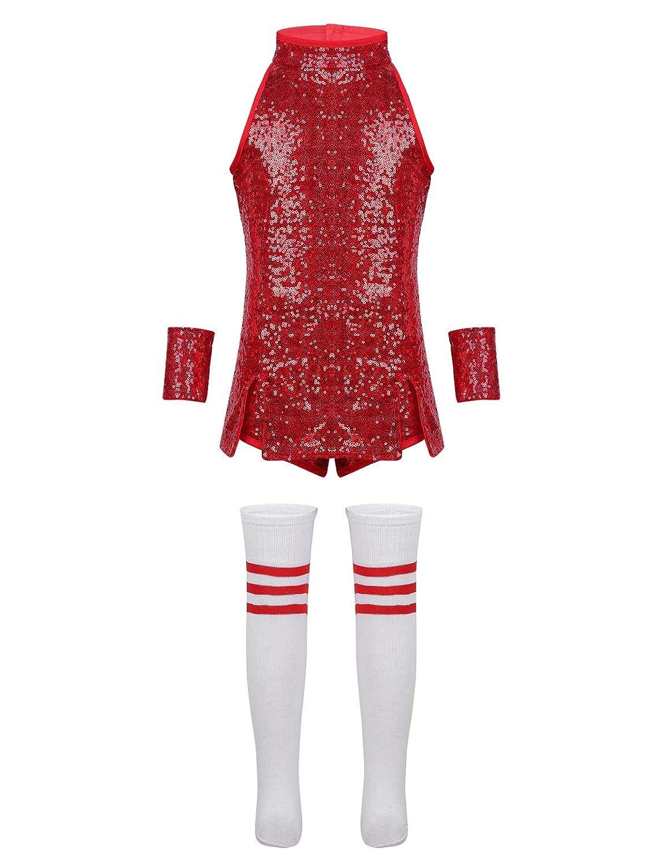 IEFIEL Déguisement Noël Enfant Fille Costume de Danse Jazz Performance Robe Danse de Rue Hip Hop Cheerleaders Uniformes à Sequins (Tops + Shorts + Poignets + Chaussettes Rayures)