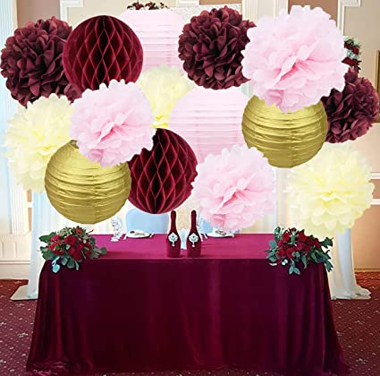 bridal shower decorations burgundy pink cream glitter gold tissue pom pom flower paper lanterns honeycomb balls