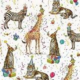 Caspari Entertaining Rouleau de Papier cadeau Motif fête d'animaux