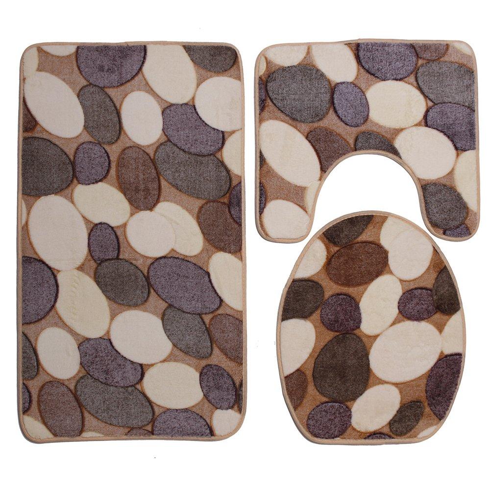 VORCOOL Alfombra de ba/ño de 3 piezas Juego de alfombrillas de ba/ño Tapa de pedestal suave