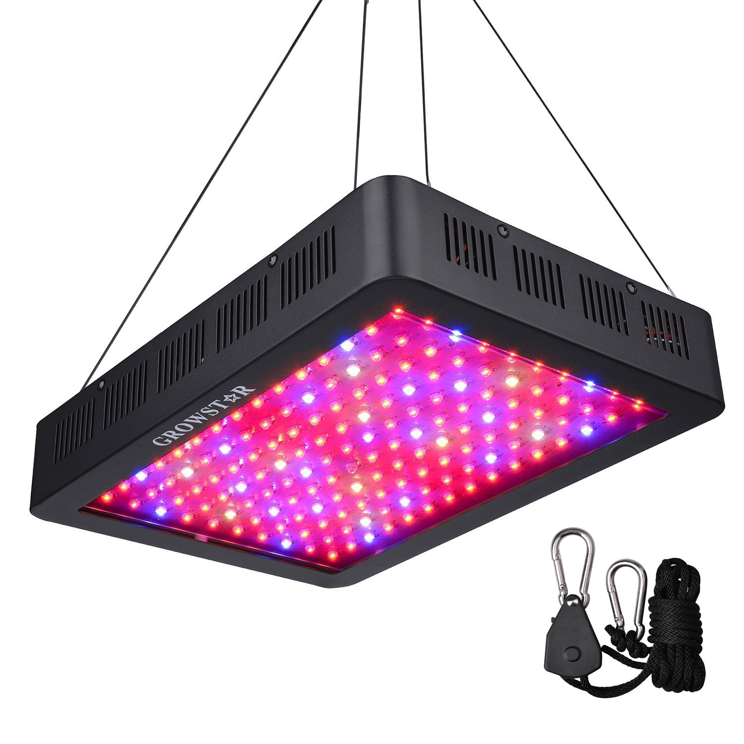 1500W LED Grow Light, Growstar Double Chips LED Grow Lamp Full Spectrum for Hydroponic Indoor Plants Flower and Veg with UV IR Daisy Chain (12-Band) by Growstar