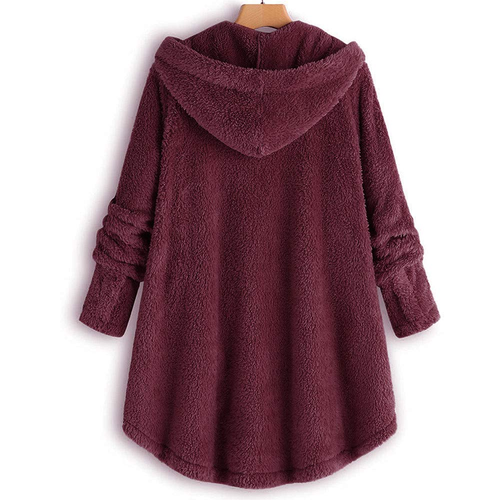 TIFENNY Fashion Loose Plush Jacket Womens Button Coat Fluffy Tail Tops Hooded Pullover Casual Sweater