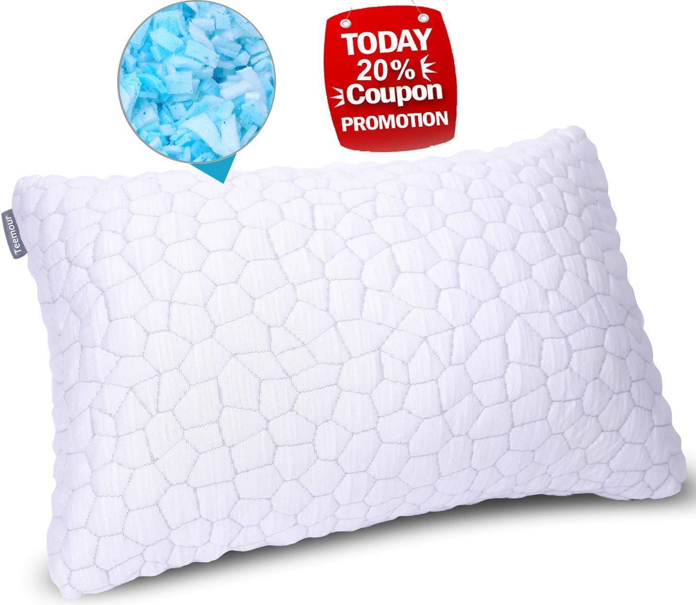 Bed Pillows for Sleeping Adjustable Gel Sheredded Memory Foam Pillow Cool Bed Pillow Adjustable Loft with Bamboo Pillow Cover Hypoallergenic Queen Sleeping Pillow (1-Pack)