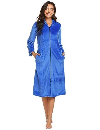 Ekouaer Zipper Front Bathrobe Women s Comfort Robe Nightgown Warm Housecoat  deep Sky Blue Medium 1adf84b7d