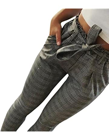 Pantalones de harén de cintura alta para mujeres Pantalones de cintura para mujer Bowtie elásticos mujer