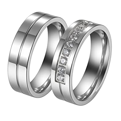 JewelryWe Par de Anillos de Alianzas Acero Inoxidable de Parejas, Anillos de Compromiso Sencillos Diseño