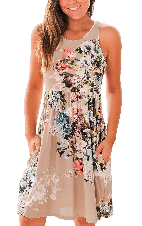 Cfanny Womens Pocket Design Floral Print Boho Summer Dress