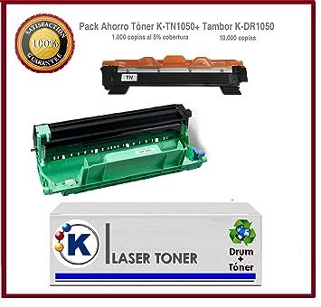 DR1050+TN1050 - Pack tambor + tóner para impresora Brother: DCP-1510, HL-1110, MFC-1810, DCP-1512A). Enviado desde Madrid.