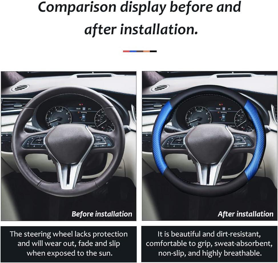 Black coofig Microfiber Leather Steering Wheel Cover Breathable Auto Car Steering Wheel Cover for Men Universal 15 Inches