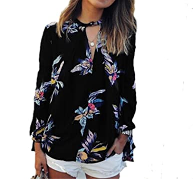 097074cb393 Jeremy Martin Women Casual Chiffon Blouse Flower Print V Neck Long Sleeve  Shirts Tops Fashion Plus Size Loose Blouses at Amazon Women s Clothing  store