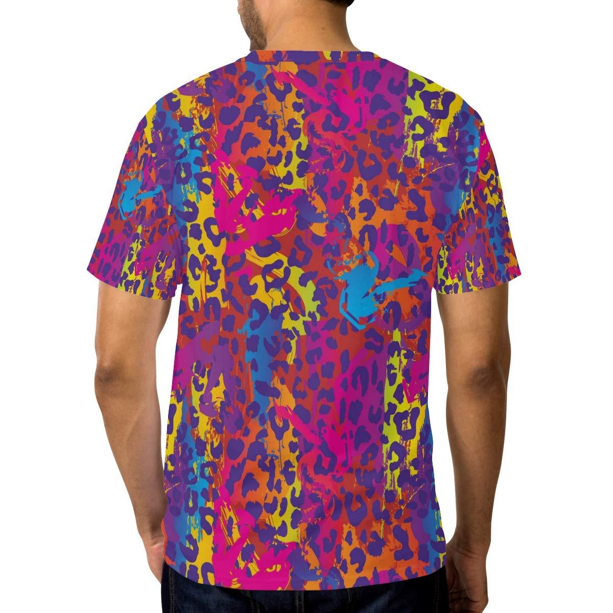 Horatiood Huberyyd Graffiti Leopard Print Decor Mens T Shirts Graphic Funny Body Print Short T-Shirt Unisex Pullover Blouse