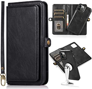 Kudex Wallet Case Compatible foriPhone 12 Pro Max,Case WalletMagnetic Detachable2 in 1 Flip Folio Leatherwith 9 Card Holder,Wrist StrapPhone Cover Purse for iPhone 12 Pro Max 6.7 inch(Black)