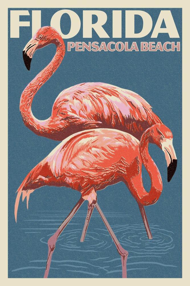 Pensacolaビーチ、フロリダ州 – Flamingo – 活版 36 x 54 Giclee Print LANT-52843-36x54 36 x 54 Giclee Print  B017E9RCCS