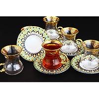 Nilay Turkuaz, Altın Varaklı El İşlemeli 6 Kişilik Çay Bardak Takımı