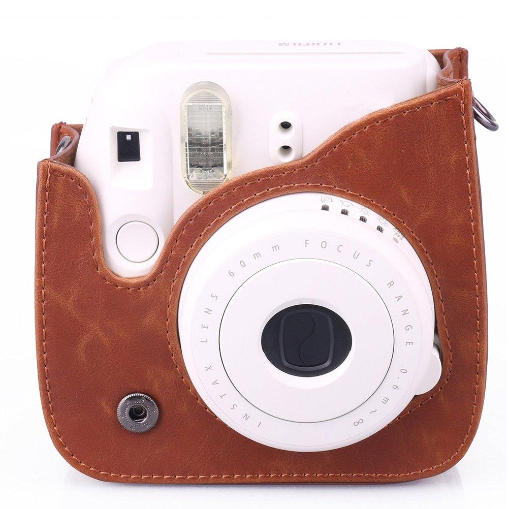 marrone // 9 Ledmomo Borsa a tracolla in pelle sintetica per fotocamera istantanea Fujifilm Instax Mini 8//8