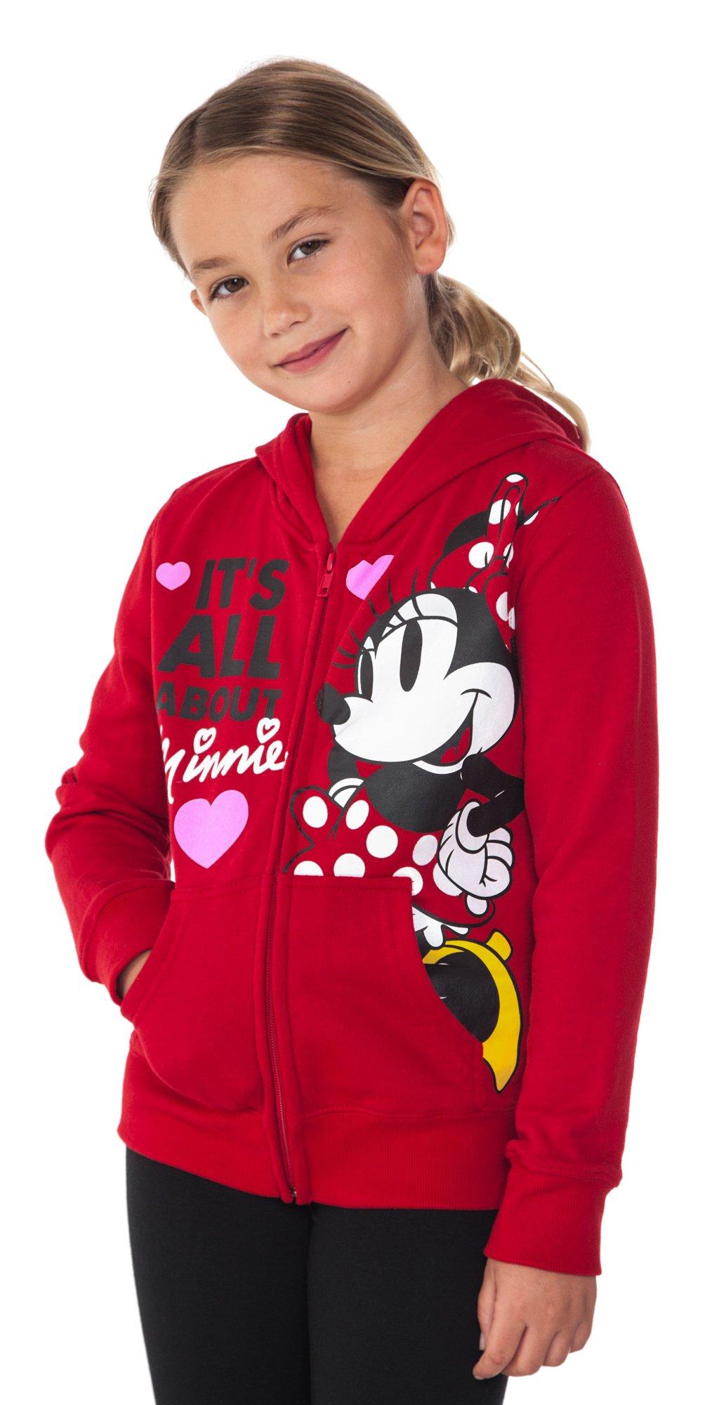 Disney Minnie Mouse Girl's Hoodie Zipper Sweatshirt Print Red (Large (10/12)) by Disney (Image #2)