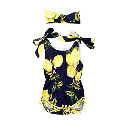 Angekids Baby Girls Fruit Lemon Pear Floral Bowknot Strap Sleeveless Dress With Headband