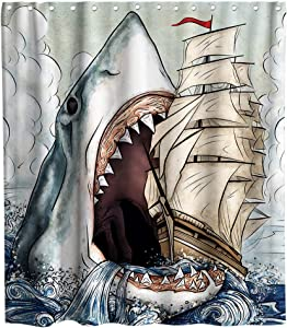 Shark Shower Curtain Jaws Bites Nautical Sailboat Theme Cloth Fabric Bathroom Decor Sets with Hooks Waterproof Washable 72 x 72 inches Blue Beige and White