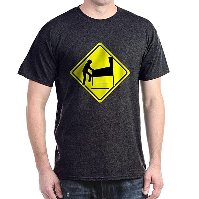 Funny Caution Pinball Wizard Player Arcade Sign dark T-Shirt.