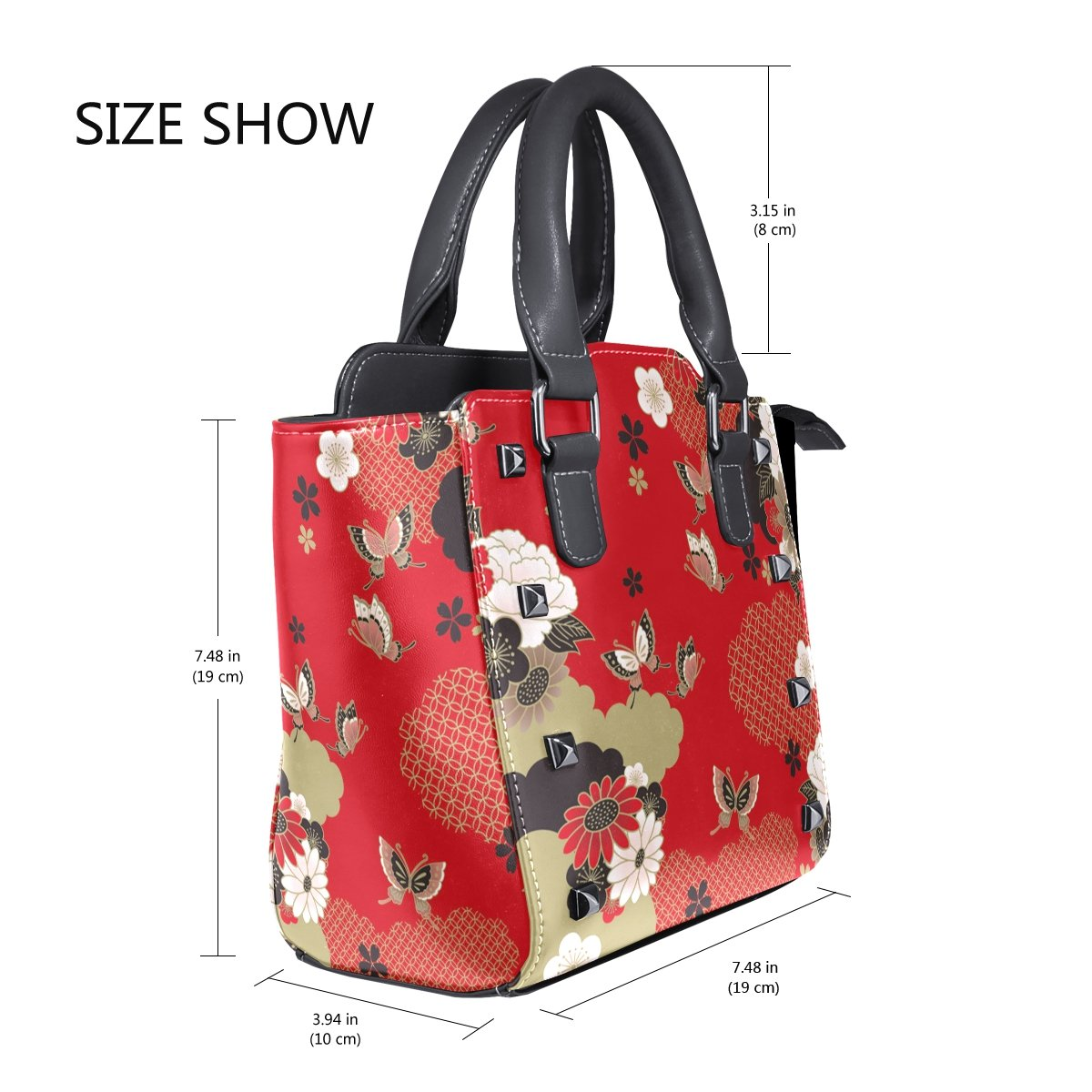 Jennifer PU Leather Top-Handle Handbags Red Japanese Floral Style Single-Shoulder Tote Crossbody Bag Messenger Bags For Women