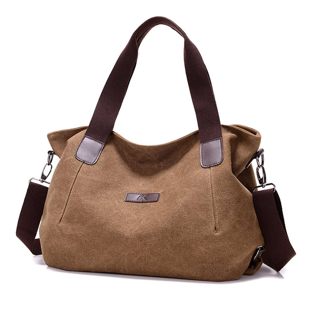809d4221af9d Amazon.com  Shoulder Bag Messenger Bag Fashion for Women Lady Girls Student  Canvas Tote Bag Casual School Work Travel Bag Purses Brown  Shoes