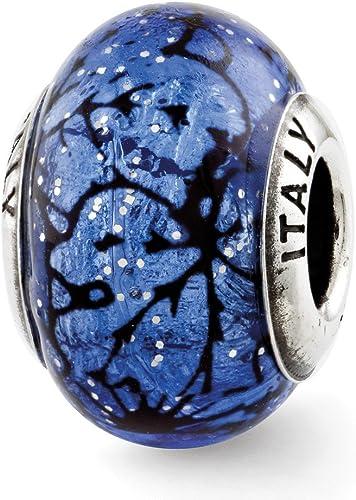 Jewelry Beads Glass Beads Sterling Silver Reflections Blue//Light Blue Italian Murano Glass Bead