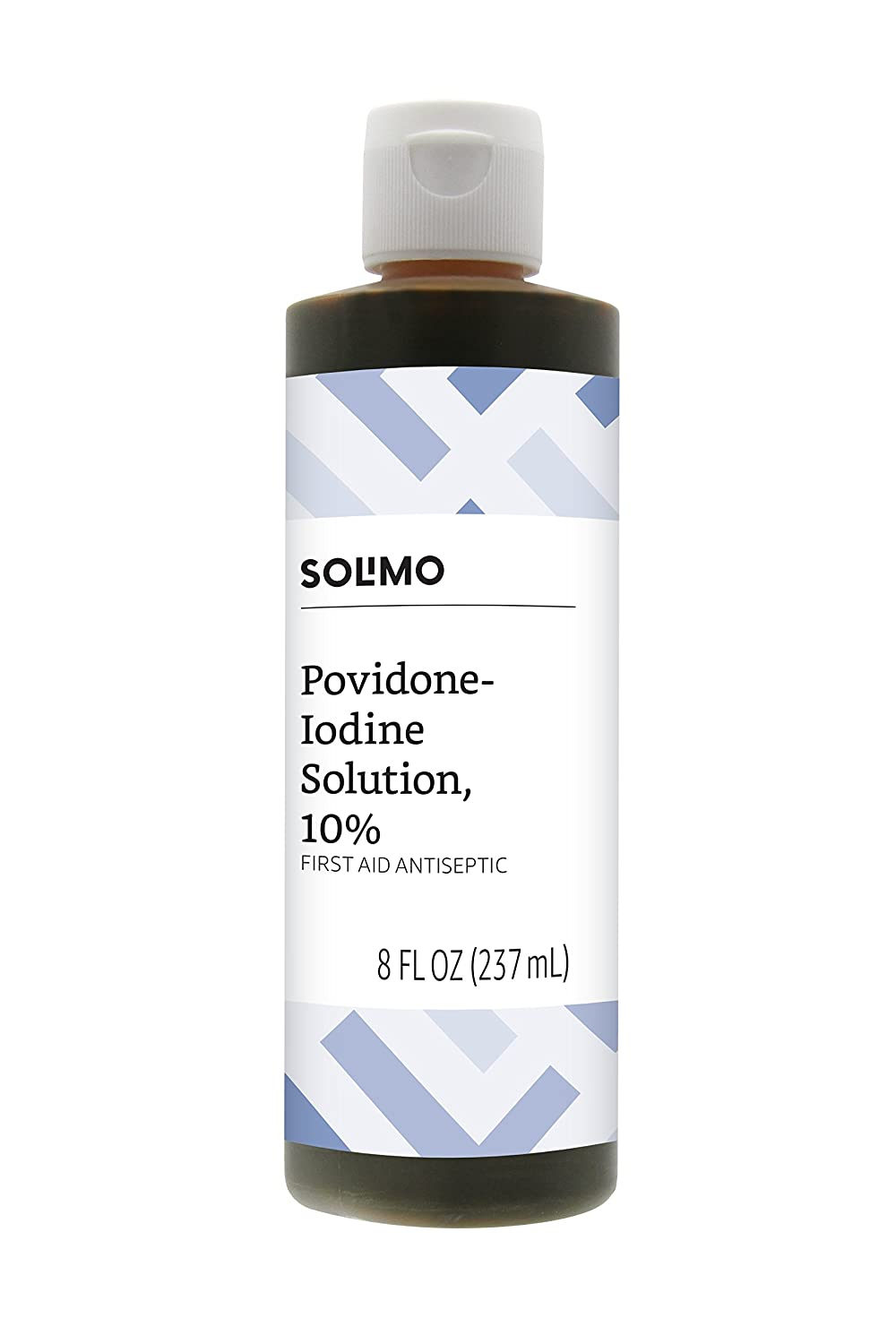 Amazon Brand - Solimo 10% Povidone Iodine Solution First Aid Antiseptic, 8 Fluid Ounce