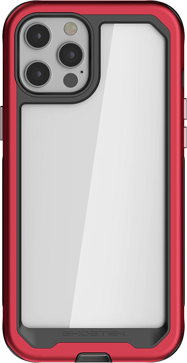 Ghostek Atomic Slim Designed for iPhone 12 Pro Max Case with Protective Metal Bumper Made of Super Tough Lightweight Military Grade Aluminum Alloy, iPhone 12 Pro Max 5G (6.7 Inch) (Red)