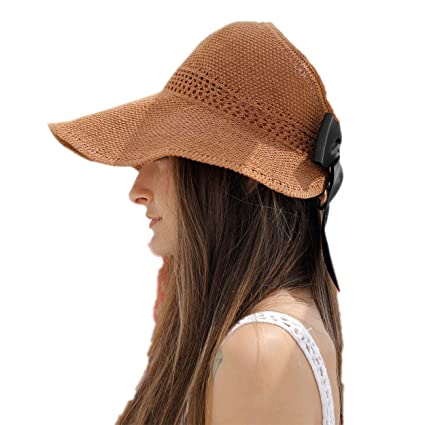 c541a93dd Sharemily home Women's Outdoor UV Protection Foldable Sun Hat Wide Brim  Summer Beach Fishing Hiking Hat Packable Visor