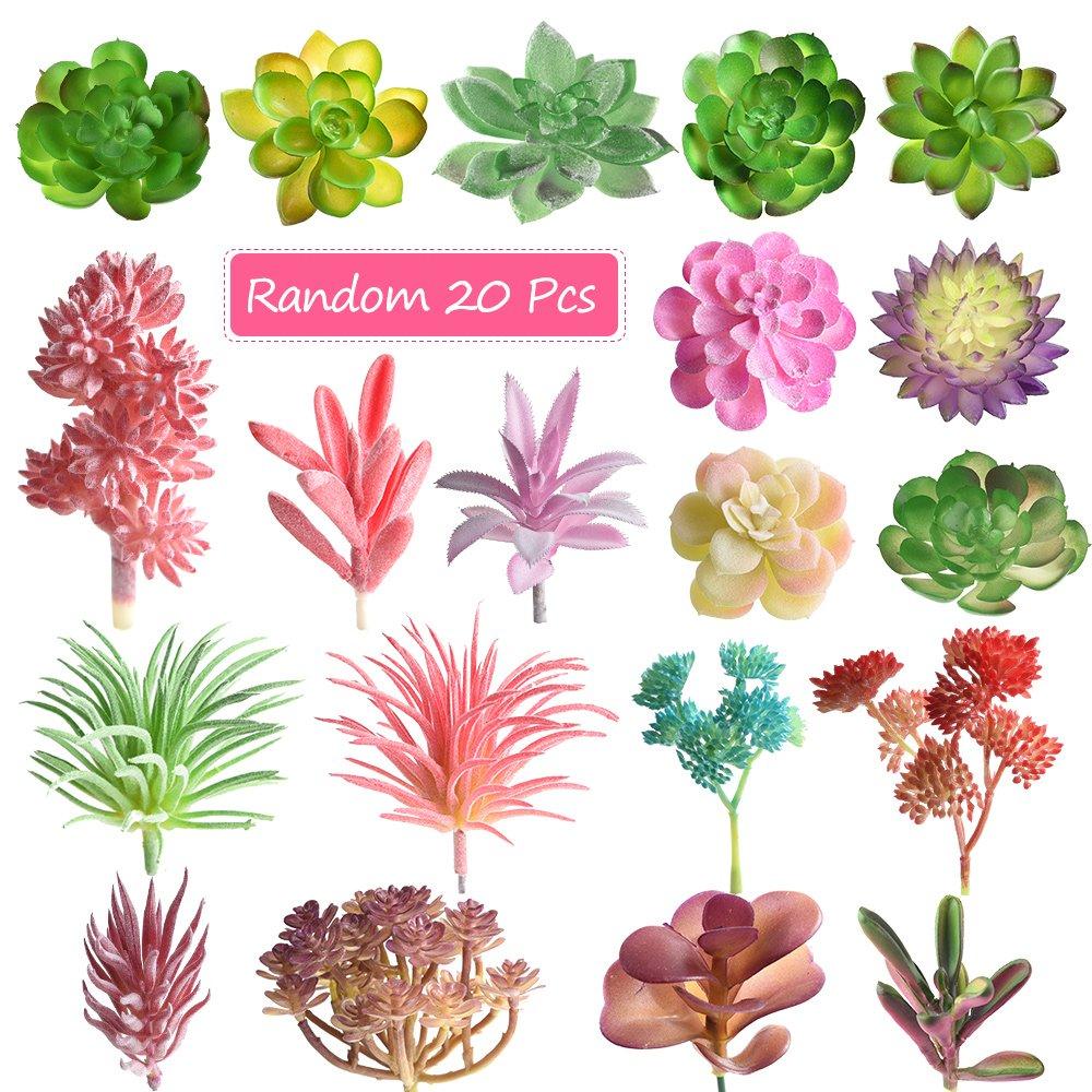 Amazon.com: FEPITO Random 20 Pcs Artificial Succulents Unpotted ...