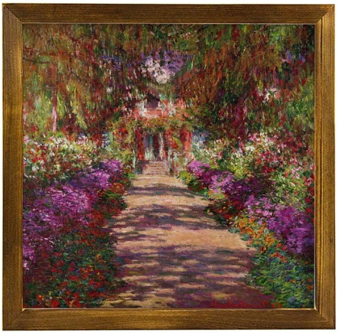 "VinMea Home Decor Wood Sign A-Pathway-in-Monets-Garden-Giverny-Claude-Monet Framed Wood Sign,Rustic Wall Art Sign Wall Hanging Home Decor Wall Art 12""X12"""
