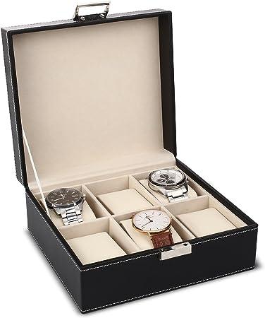 MVPOWER Caja para Relojes Estuche para Guardar Relojes Expositor de Relojes Caja de Almacenamiento de Relojes Organizador para Relojes (Beige, 3 x 2): Amazon.es: Hogar