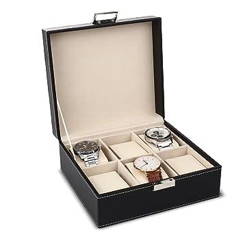 MVPOWER Caja para Relojes Estuche para Guardar Relojes Expositor de Relojes Caja de Almacenamiento de Relojes Organizador para Relojes (Beige, ...
