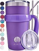 ALBOR Triple Insulated Stainless Steel Tumbler 20 oz Purple Coffee Travel